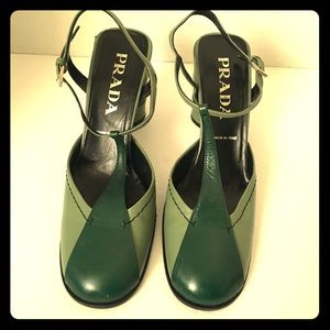 Vintage Prada Mary Jane Block Heel Shoes Sz37